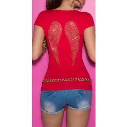 Piros női rövid ujjú póló masnikkal