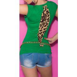 Zöld női rövid ujjú póló állatmintás betéttel