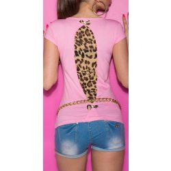 Rózsaszín női rövid ujjú póló állatmintás betéttel