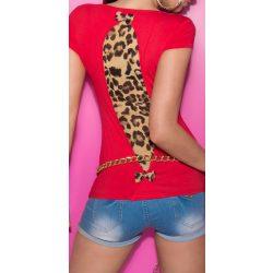 Piros női rövid ujjú póló állatmintás betéttel