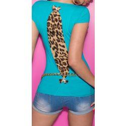 Kék női rövid ujjú póló állatmintás betéttel