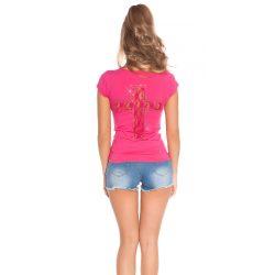 Pink női rövidujjú póló csipke betéttel