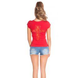 Piros női rövidujjú póló csipke betéttel
