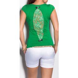 Zöld női csipke betétes rövid ujjú póló