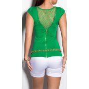 Zöld női csipke hátú rövid ujjú póló