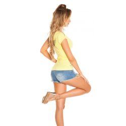 Sárga női rövid ujjú póló strasszkövekkel