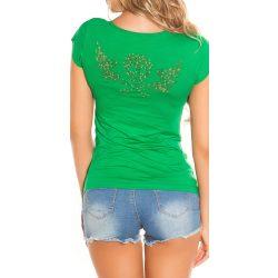 Zöld női rövid ujjú póló strasszkövekkel