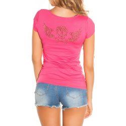 Pink női rövid ujjú póló strasszkövekkel