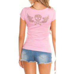 Rózsaszín női rövid ujjú póló strasszkövekkel