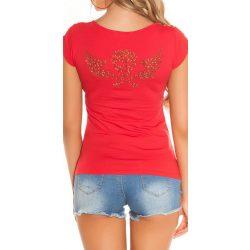 Piros női rövid ujjú póló strasszkövekkel