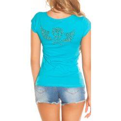 Kék női rövid ujjú póló strasszkövekkel