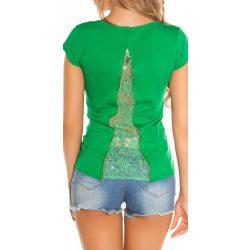 Zöld női V kivágású póló csipkével