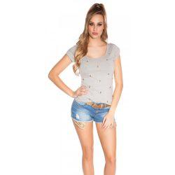 Szürke női rövid ujjú póló
