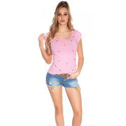 Rózsaszín női rövid ujjú póló