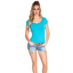 Kék női rövid ujjú póló