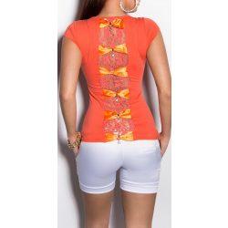 Korall női rövid ujjú póló hátán masnival