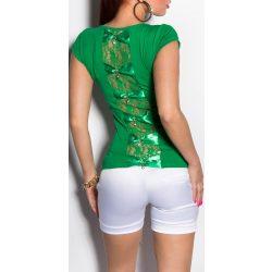 Zöld női rövid ujjú póló hátán masnival