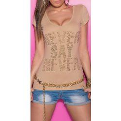 Bézs női strasszköves feliratos póló