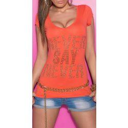 Korall női strasszköves feliratos póló