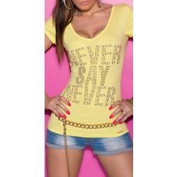 Sárga női strasszköves feliratos póló