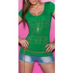 Zöld női strasszköves feliratos póló