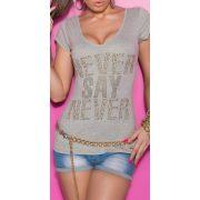Szürke női strasszköves feliratos póló