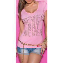 Rózsaszín női strasszköves feliratos póló