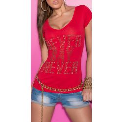 Piros női strasszköves feliratos póló