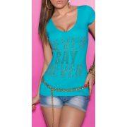 Kék női strasszköves feliratos póló