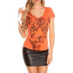 Korall női állatmintás póló