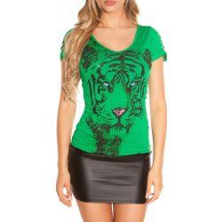 Zöld női állatmintás póló