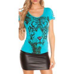 Kék női állatmintás póló