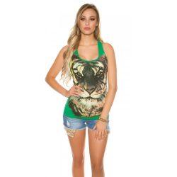 Zöld női állatmintás trikó