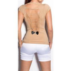 Bézs női kivágott hátú póló