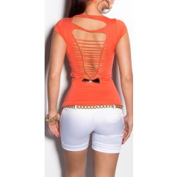 Korall női kivágott hátú póló