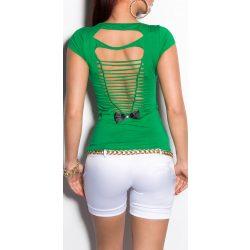 Zöld női kivágott hátú póló
