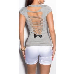 Szürke női kivágott hátú póló