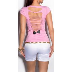 Rózsaszín női kivágott hátú póló