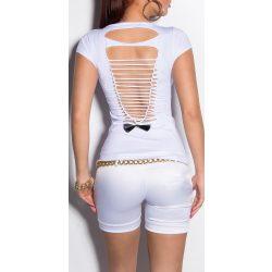 Fehér női kivágott hátú póló