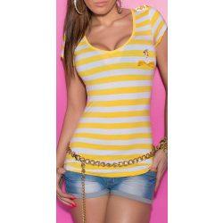 Sárga-fehér csíkos női matróz póló