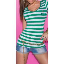Zöld-fehér csíkos női matróz póló