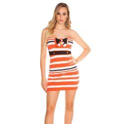Narancssárga női csőtop ruha csíkos masni díszítéssel