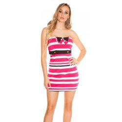 Pink női csőtop ruha csíkos masni díszítéssel