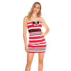 Piros női csőtop ruha csíkos masni díszítéssel
