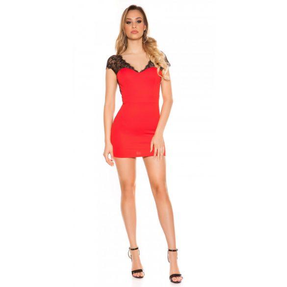 Piros női rövid ujjú ruha csipke betéttel