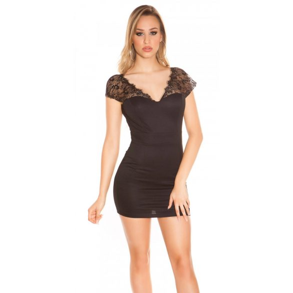 Fekete női rövid ujjú ruha csipke betéttel