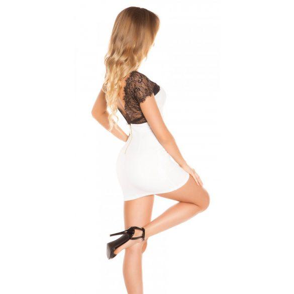 Fehér női rövid ujjú ruha csipke betéttel