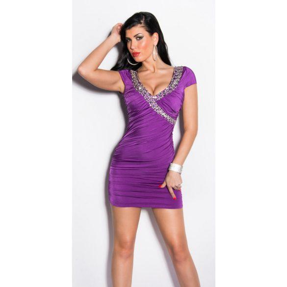 Lila női testhezálló ruha strasszkövekkel