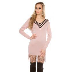 Rózsaszín női V nyakú kötött ruha
