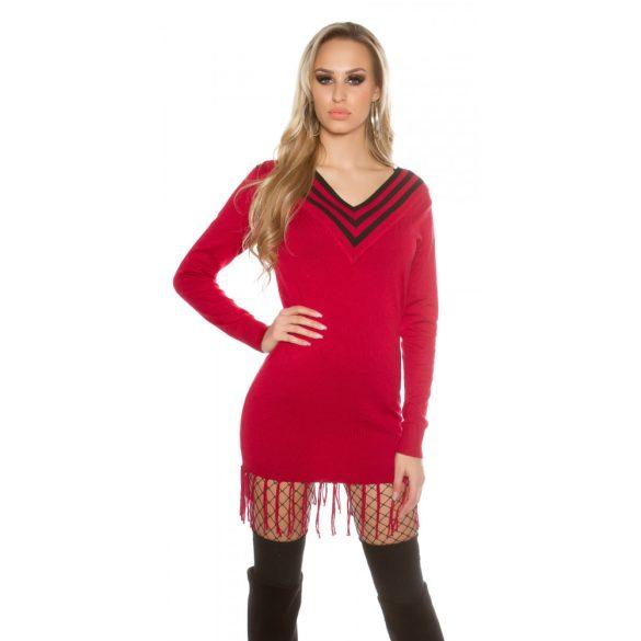 Piros női V nyakú kötött ruha